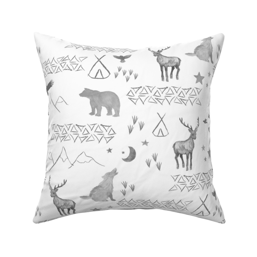 Catalan Throw Pillow featuring Watercolor Woodland by mrshervi