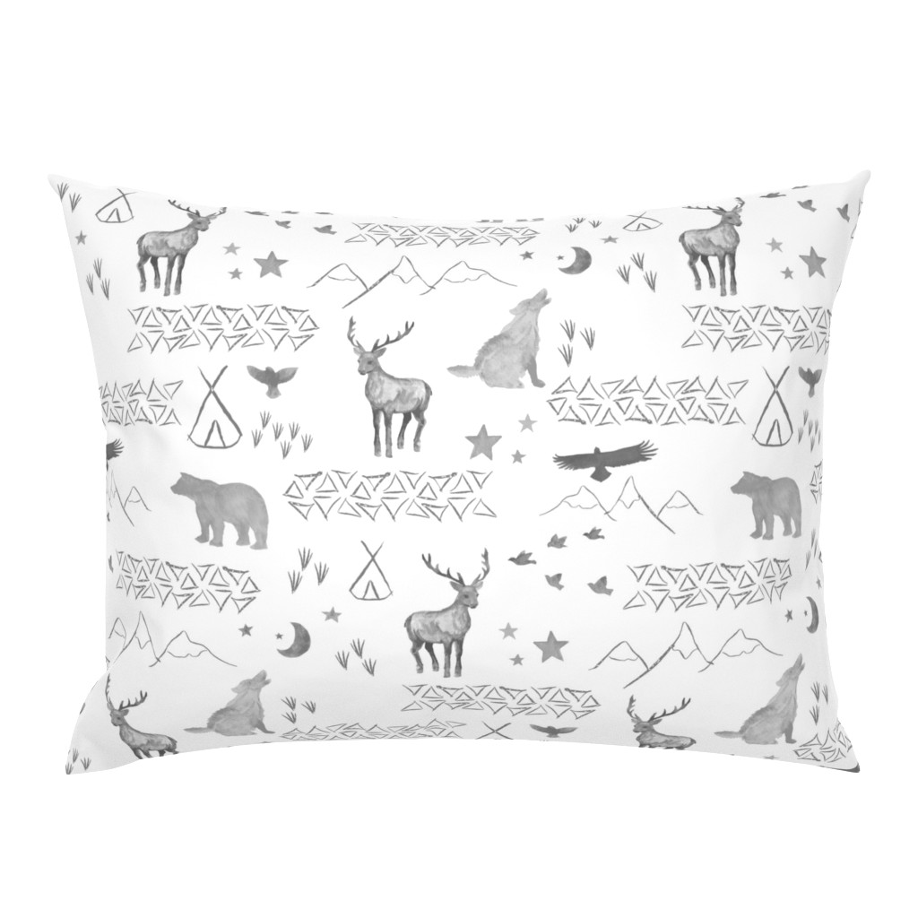 Campine Pillow Sham featuring Watercolor Woodland by mrshervi