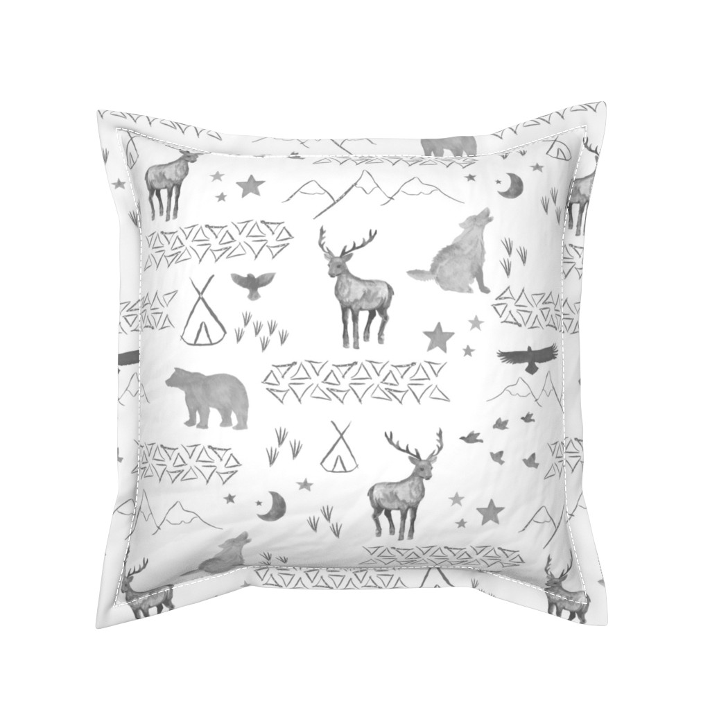 Serama Throw Pillow featuring Watercolor Woodland by mrshervi
