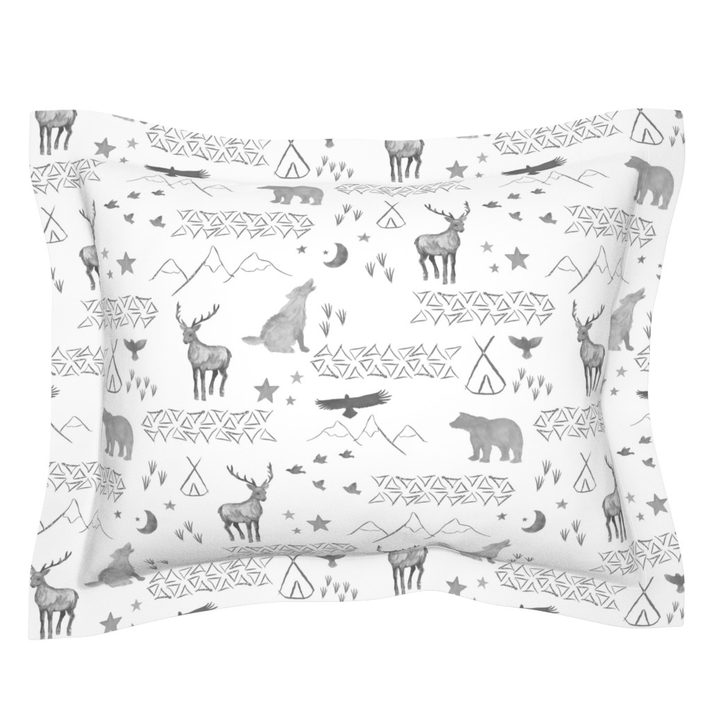 Sebright Pillow Sham featuring Watercolor Woodland by mrshervi
