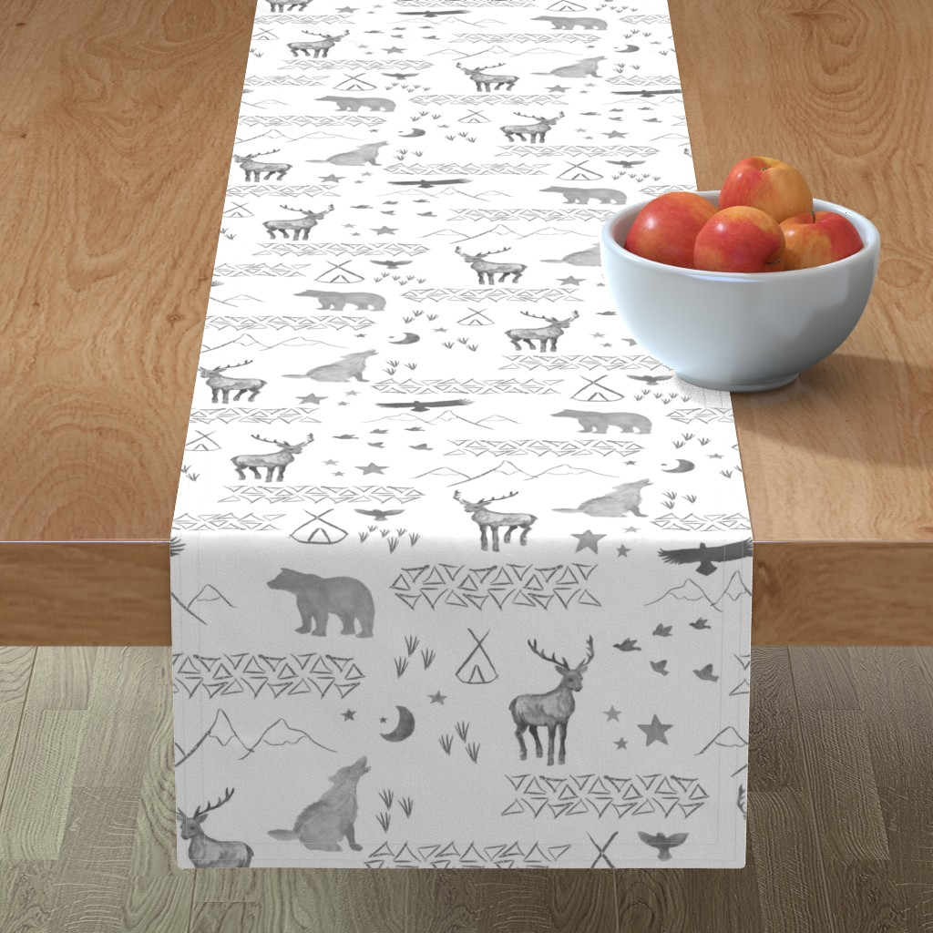 Minorca Table Runner featuring Watercolor Woodland by mrshervi