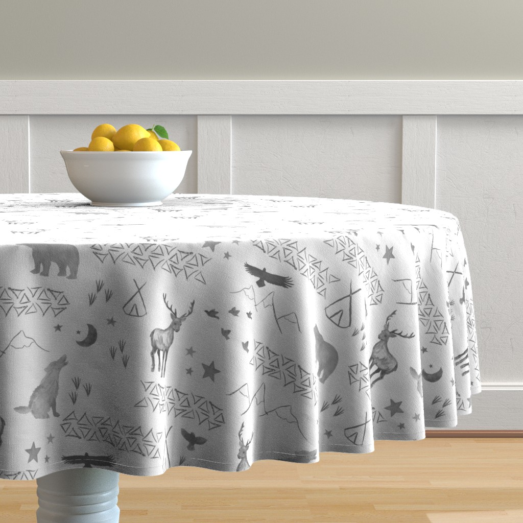 Malay Round Tablecloth featuring Watercolor Woodland by mrshervi