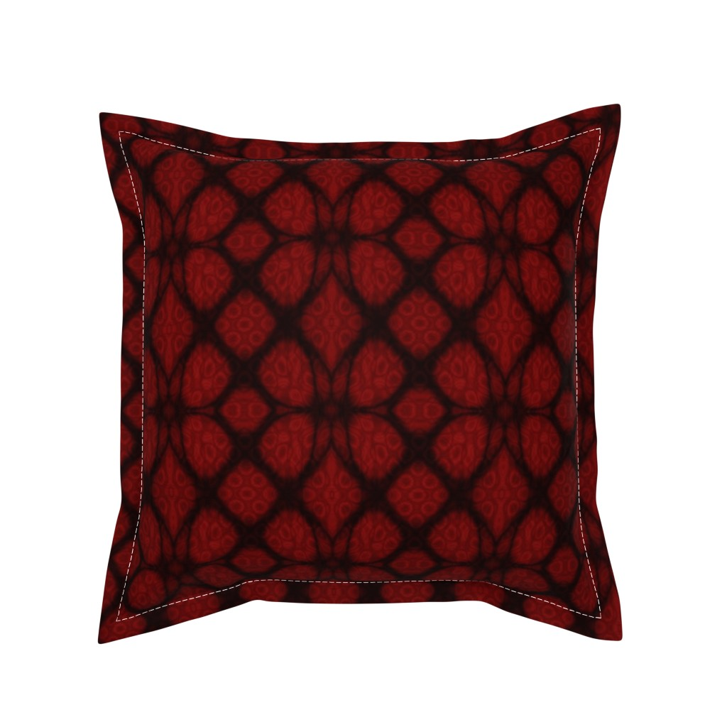 Serama Throw Pillow featuring Red and Black Celtic Knot Fabric with Stained Glass Background by onestitchdesigns