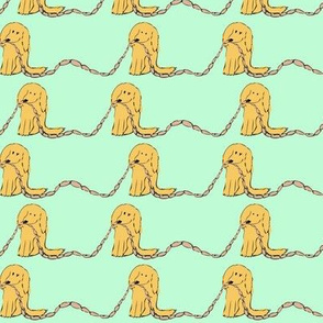 PennyDog Illustration - Sausage Dogs in Aqua