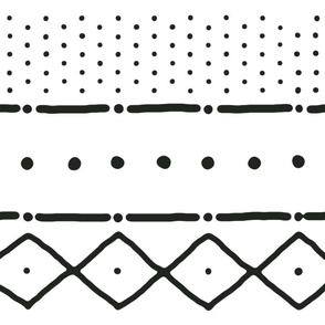 Mudcloth II in black on white