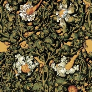Fire Blossom Damask ~ Gold