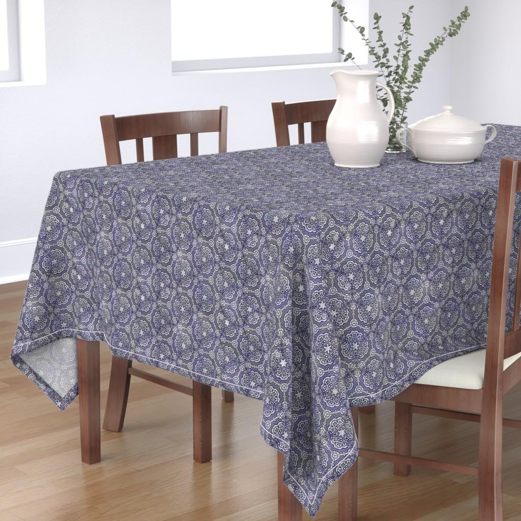 Bantam Rectangular Tablecloth featuring Quilters Blue Crochet by wren_leyland