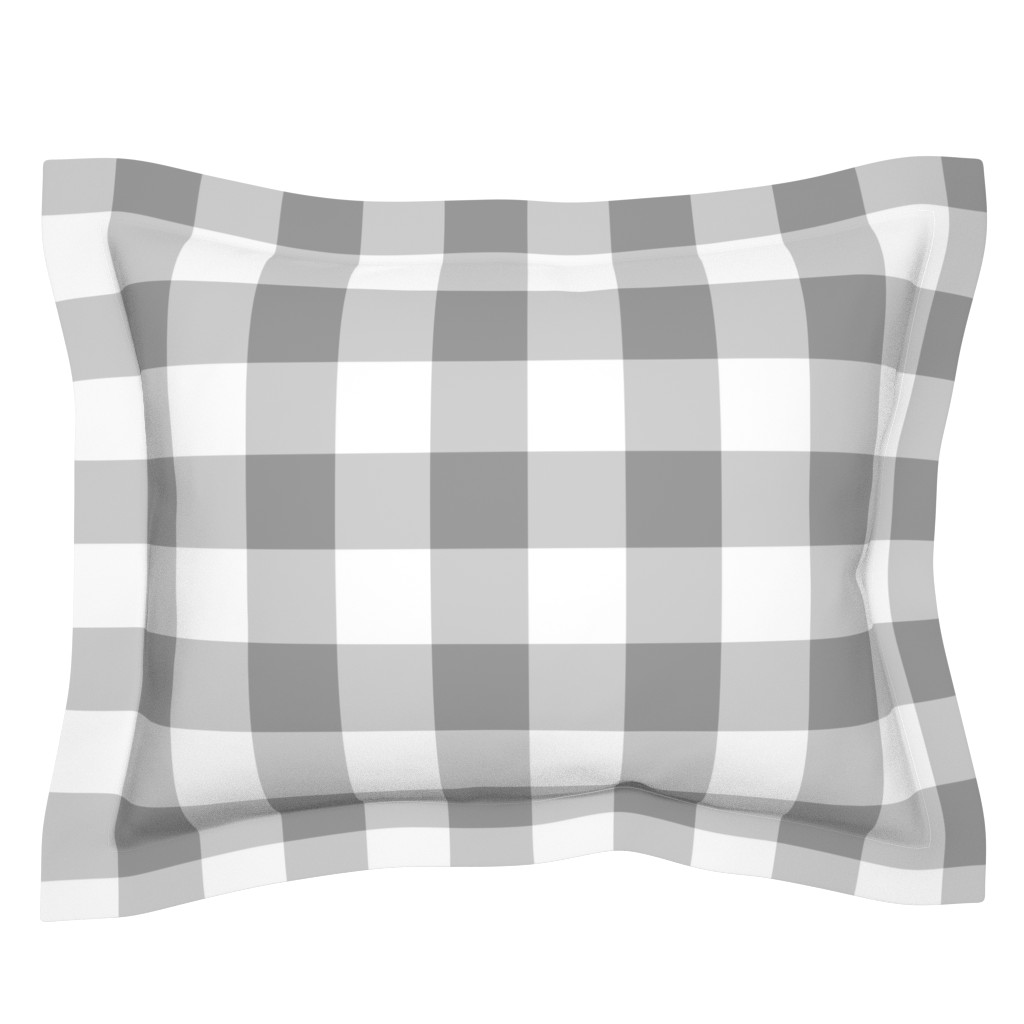 Sebright Pillow Sham featuring Grey Buffalo Check by aacraven85