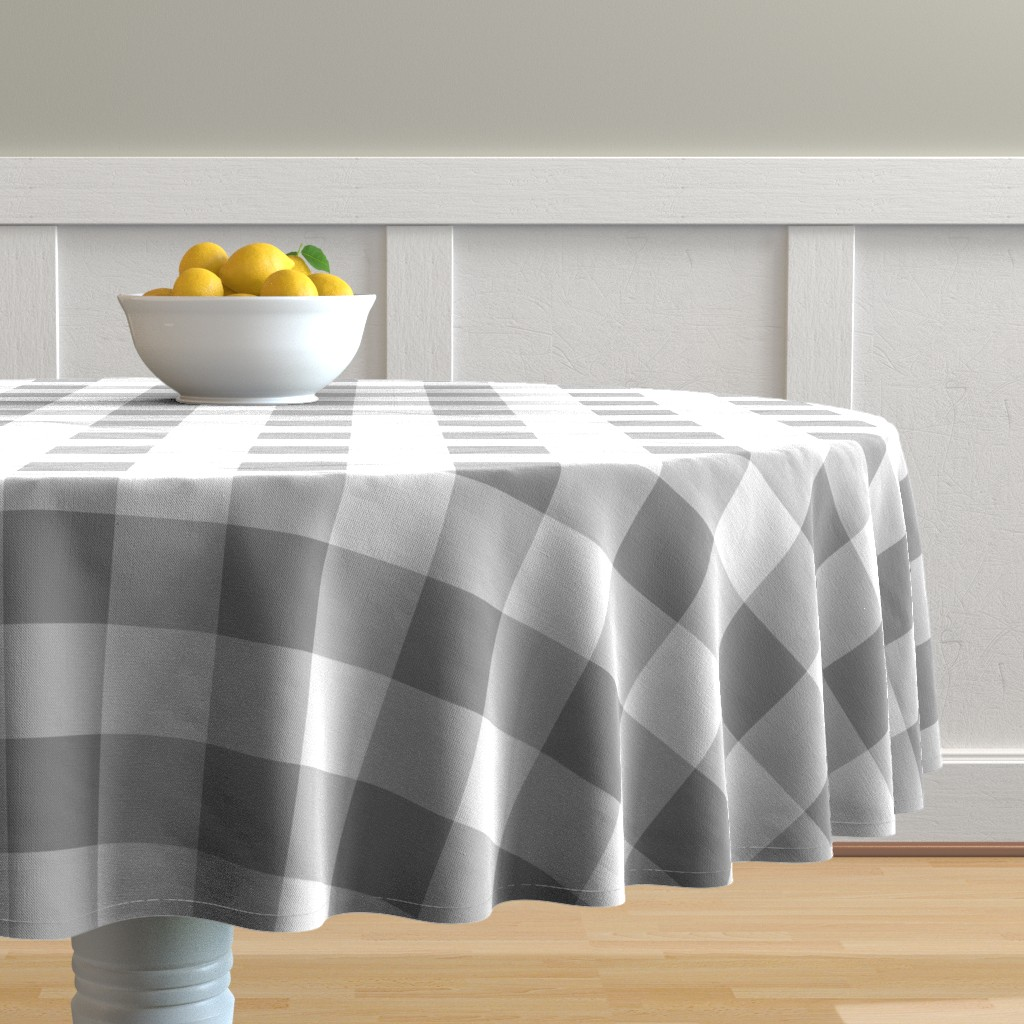 Malay Round Tablecloth featuring Grey Buffalo Check by aacraven85