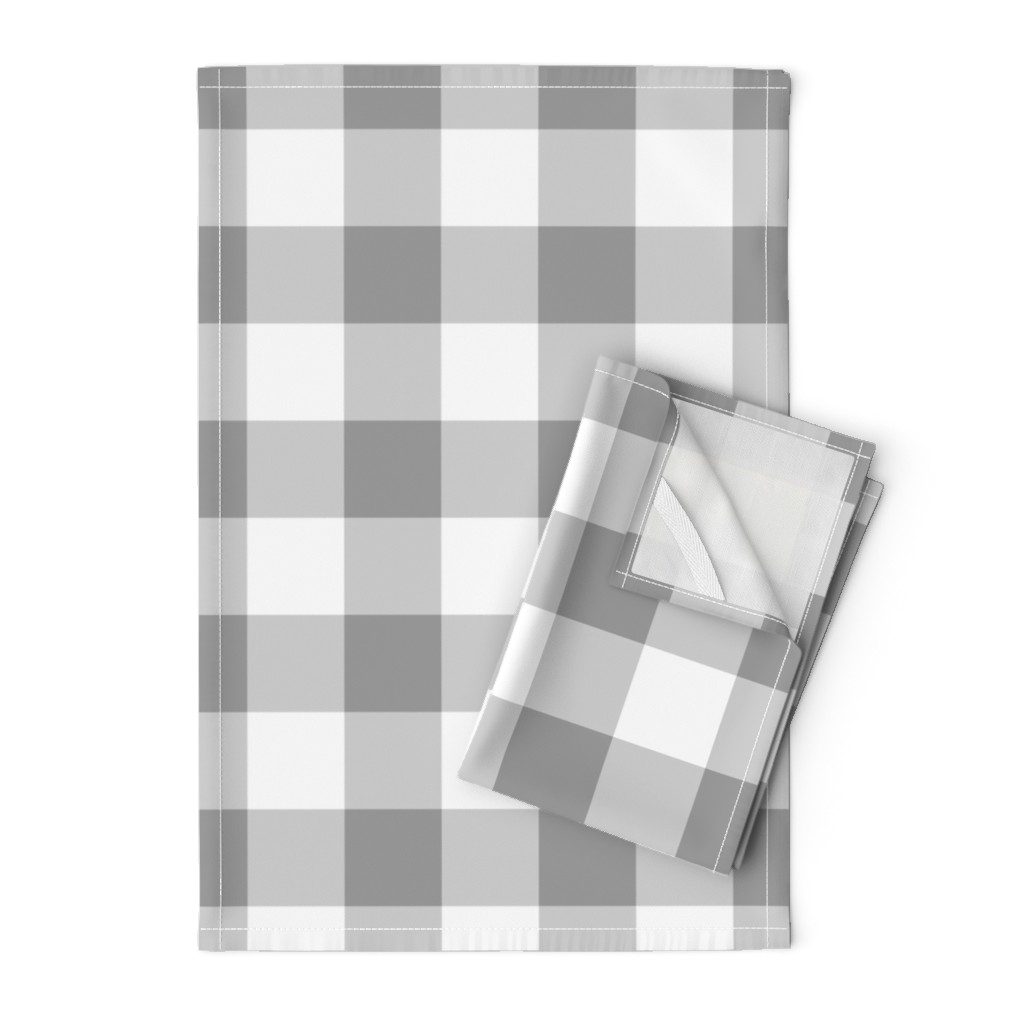 Orpington Tea Towels featuring Grey Buffalo Check by aacraven85