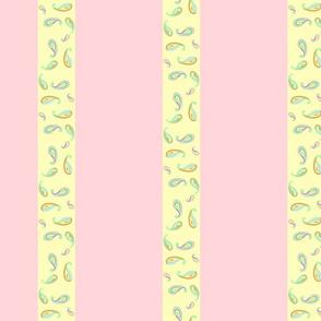 pastel paisleys pink stripes