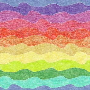 rainbow crayon waves
