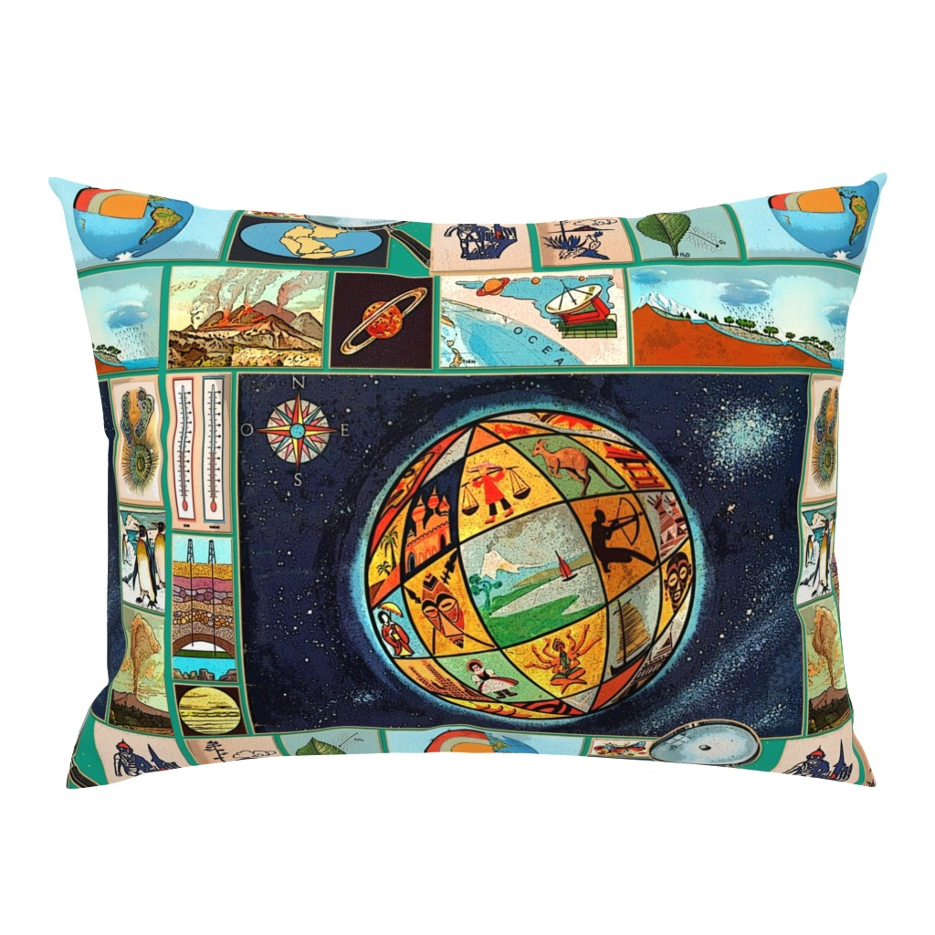 Campine Pillow Sham featuring vintageglobe by chicca_besso