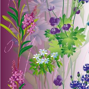 meadow night scene flower pattern