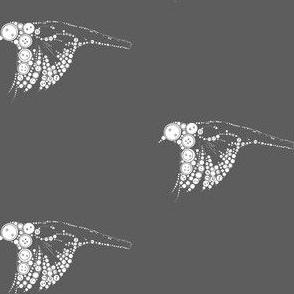 button bird in flight-grey