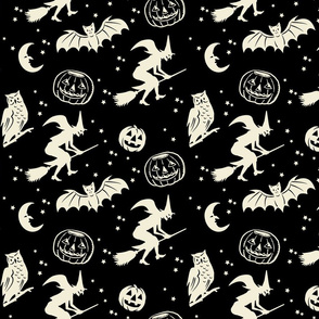 Bats and Jacks ~ Black with Cream