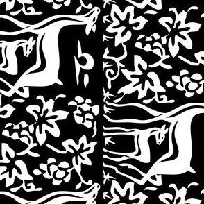 Arts & Crafts deer and grapes vector -BLACK