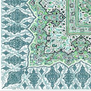 persian knot tea towel emerald