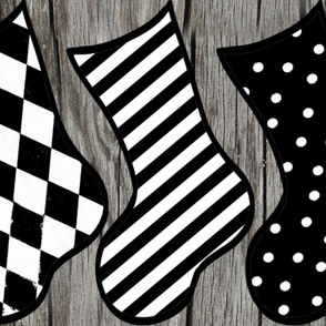 Black and White Christmas Stocking Holiday DIY Cut & Sew
