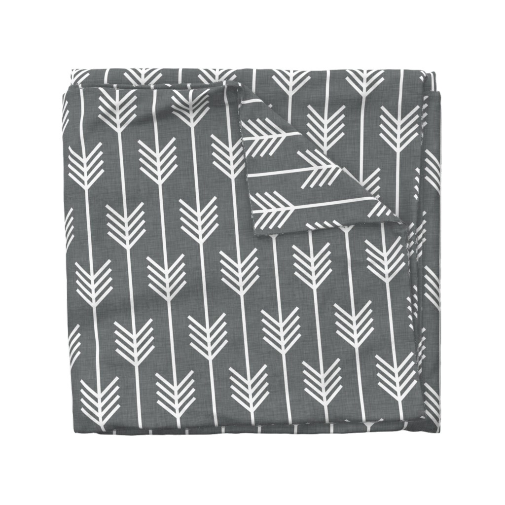 Wyandotte Duvet Cover featuring arrows_gray by holli_zollinger