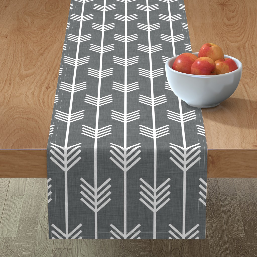 Minorca Table Runner featuring arrows_gray by holli_zollinger