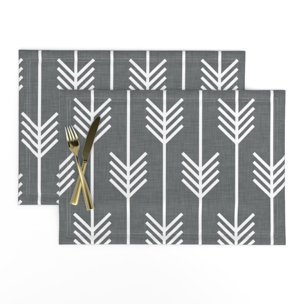 Lamona Cloth Placemats featuring arrows_gray by holli_zollinger
