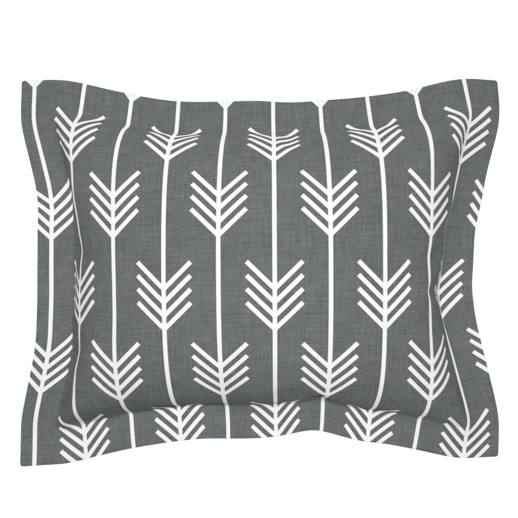 Sebright Pillow Sham featuring arrows_gray by holli_zollinger