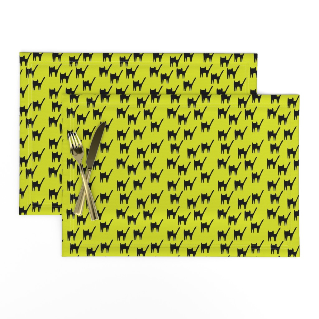 Lamona Cloth Placemats featuring Black Cat Meaw Silhouette on neon by maedchenwahn_illustration