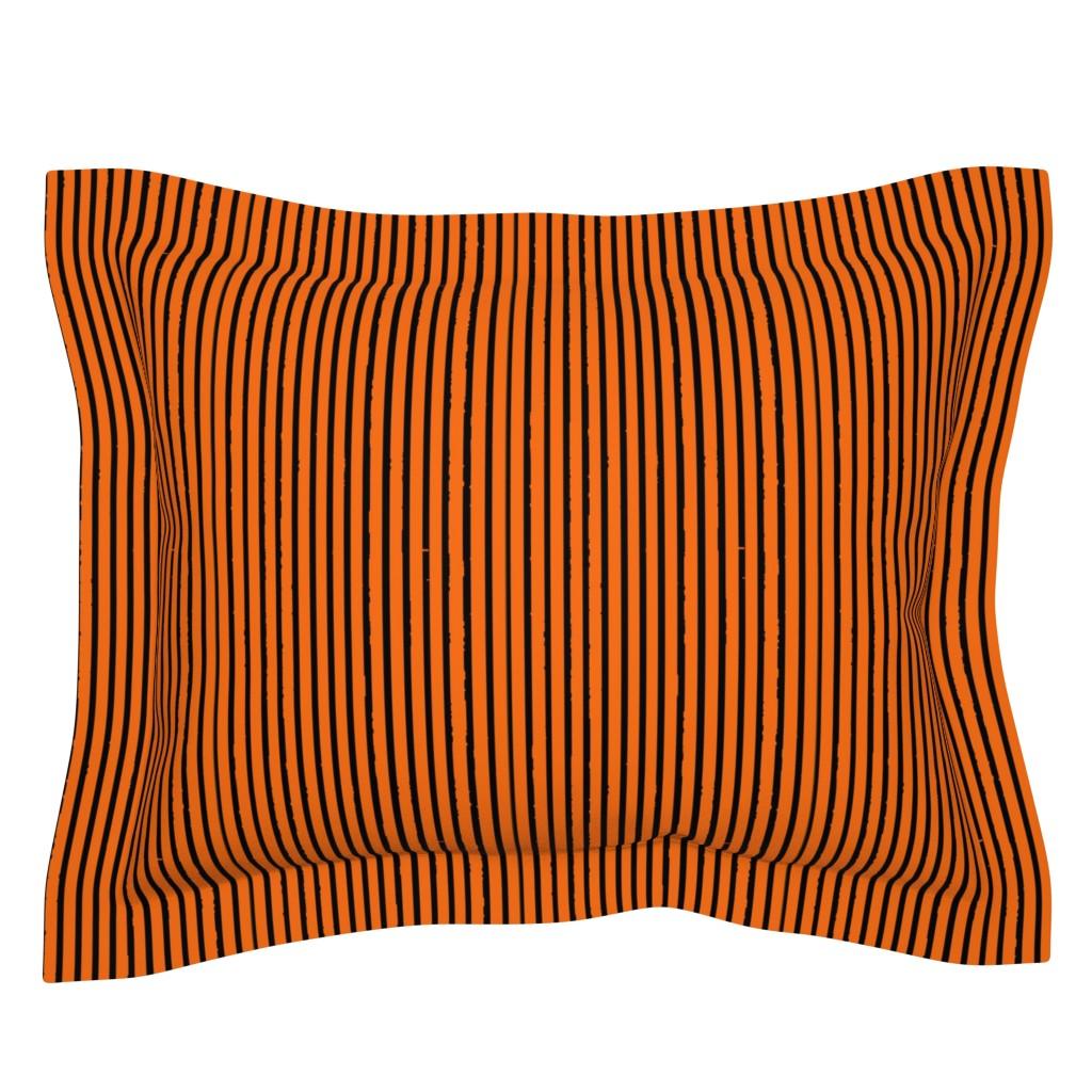 Sebright Pillow Sham featuring Orange and Black Tiger Stripes by bohobear
