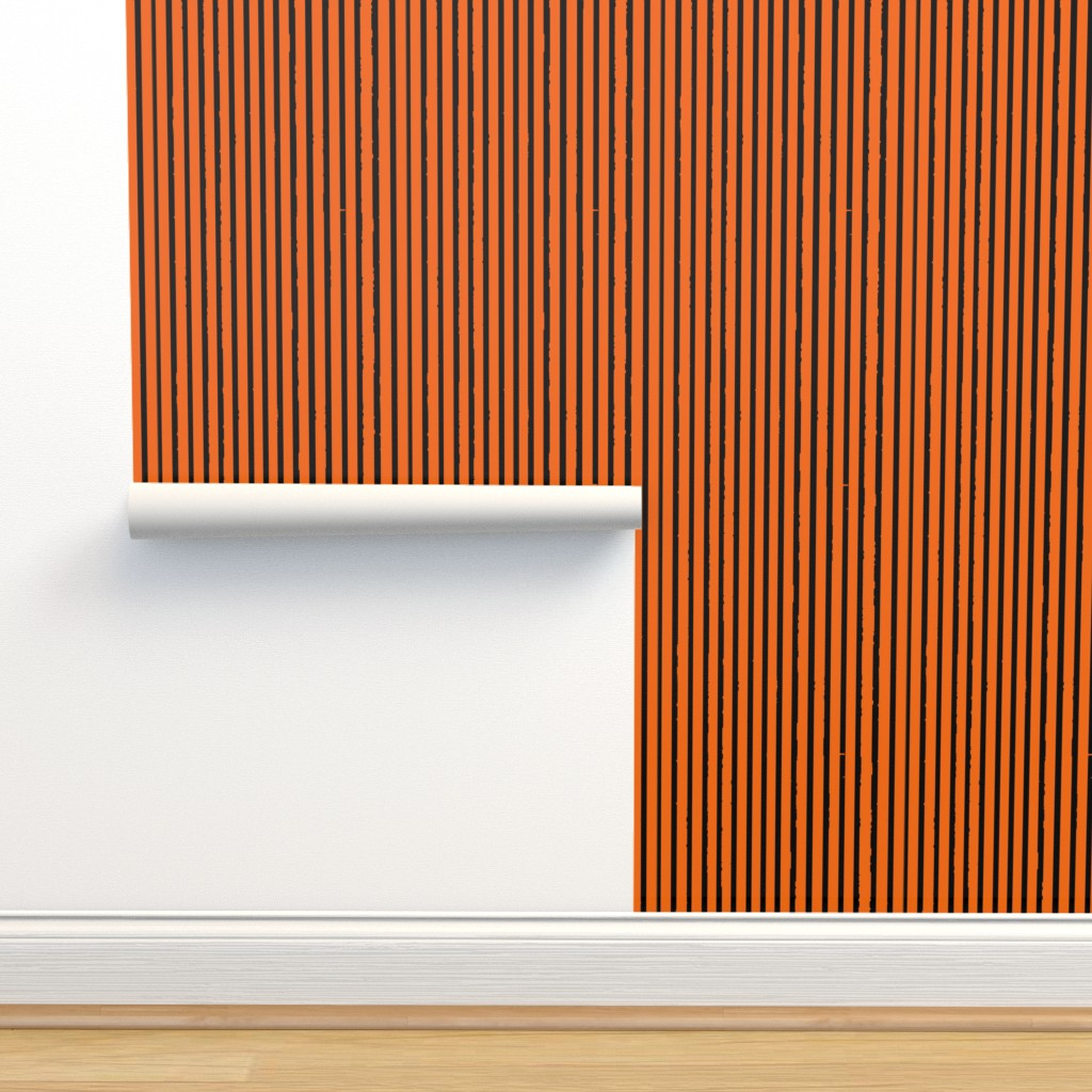Isobar Durable Wallpaper featuring Orange and Black Tiger Stripes by bohobear