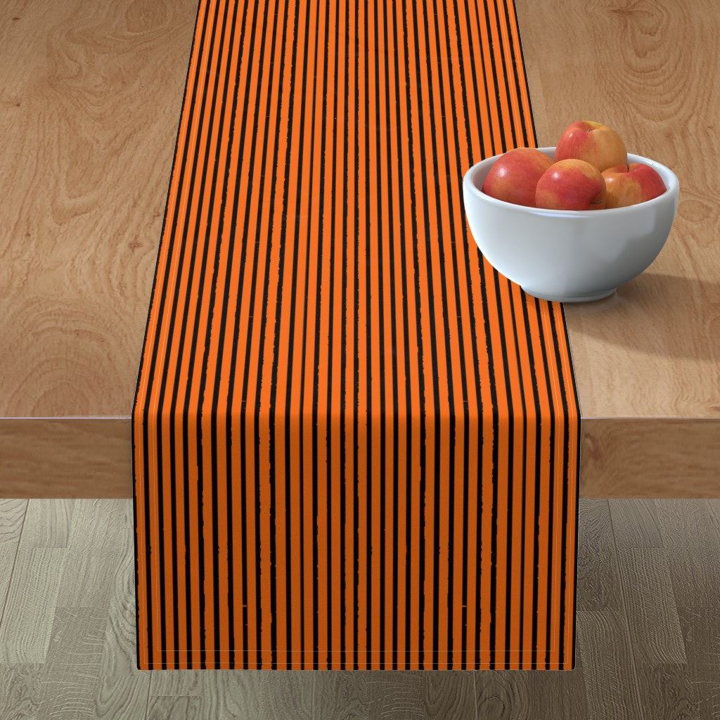 Minorca Table Runner featuring Orange and Black Tiger Stripes by bohobear