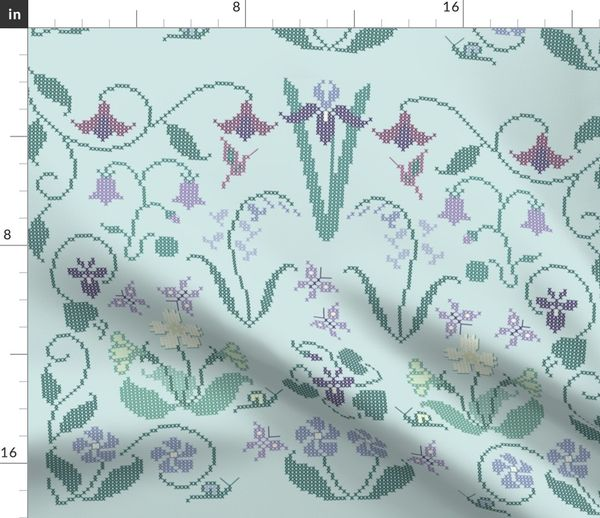 Fabric by the Yard Cross-stitch garden flower sampler embroidery pattern  and cheater fabric on pale seafoam - look at swatch view to see stitches