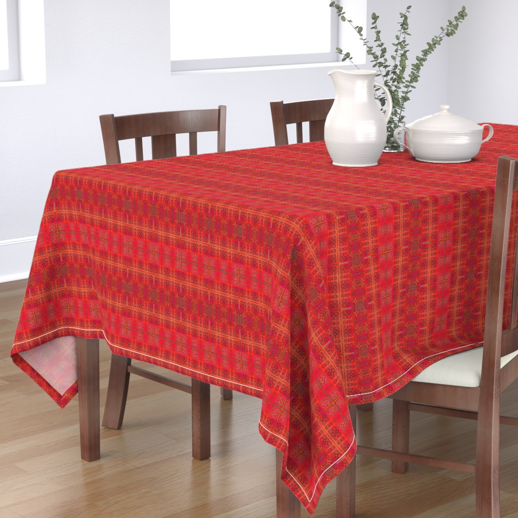 Bantam Rectangular Tablecloth featuring Ikat Adinkra in Orange and Reds by wren_leyland