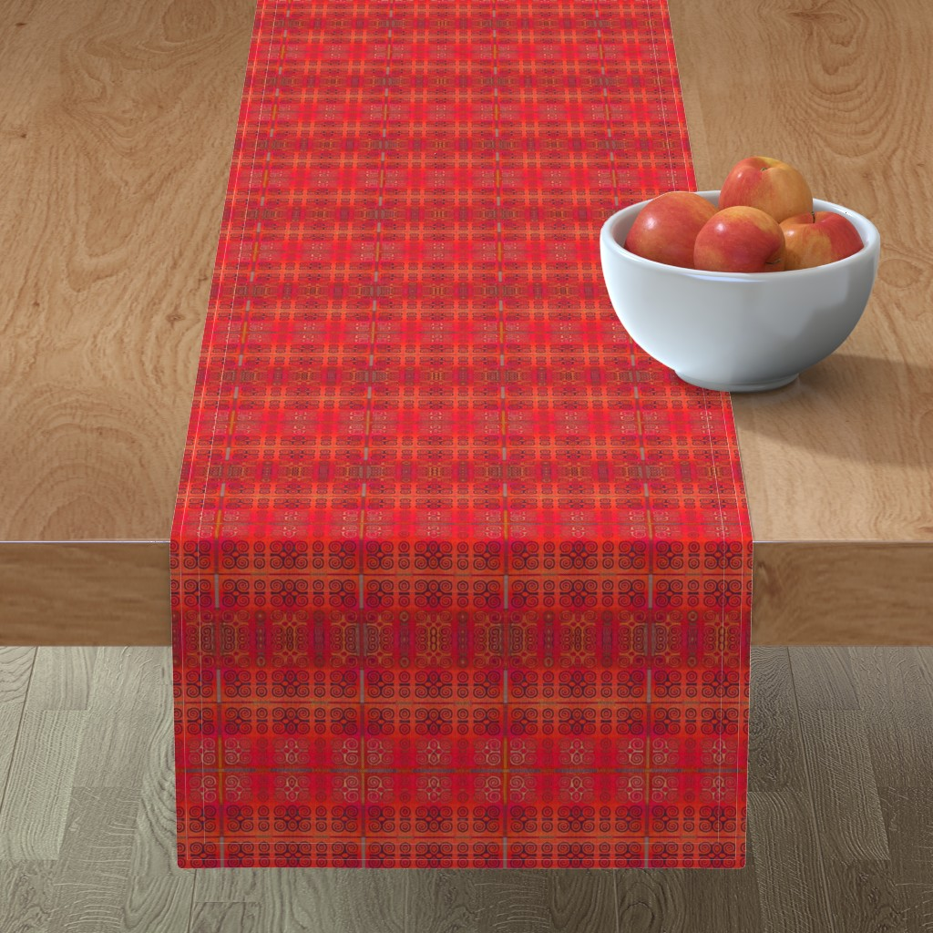 Minorca Table Runner featuring Ikat Adinkra in Orange and Reds by wren_leyland