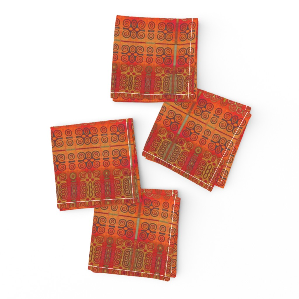 Frizzle Cocktail Napkins featuring Ikat Adinkra in Orange -- small by wren_leyland