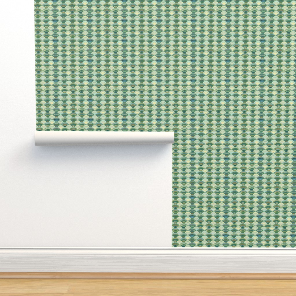 Isobar Durable Wallpaper featuring Scales in Ivory and Green, Small by wren_leyland