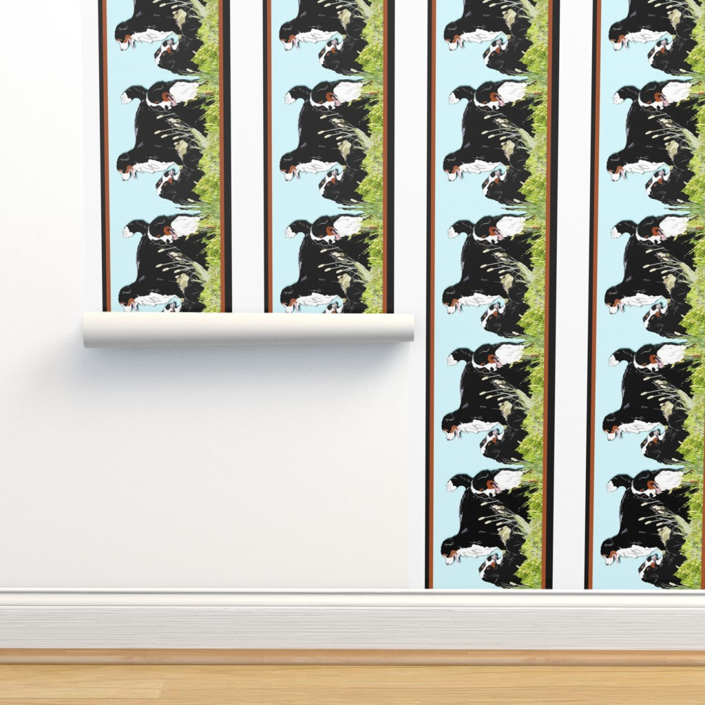 Isobar Durable Wallpaper featuring berners_in_the_grass_border_ by dogdazedesigns