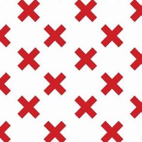 Medium Red Crosses on White