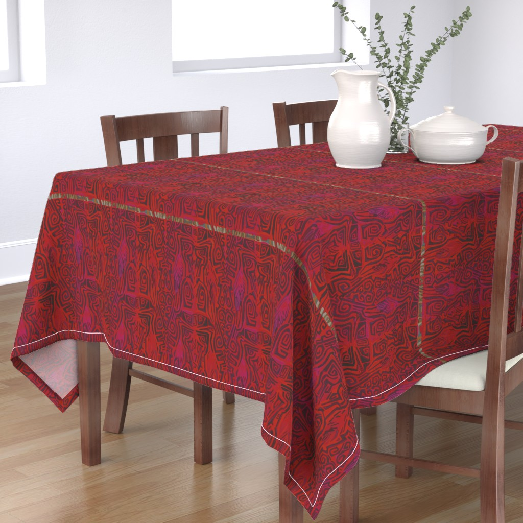 Bantam Rectangular Tablecloth featuring Pacific Cranes - Bing Cherry Red by wren_leyland