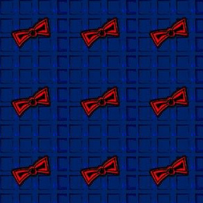 Blue Police Box Squares and Red Bow Ties