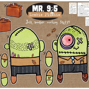 Mr. 9to5 Zombie Plush Toy by Patty Rybolt Designs!