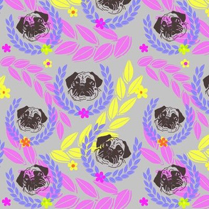 pug fabric and wall paper