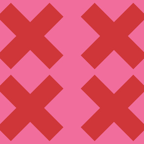 Extra Large Red Crosses on Pink