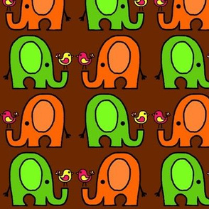 Elephants and birds brown