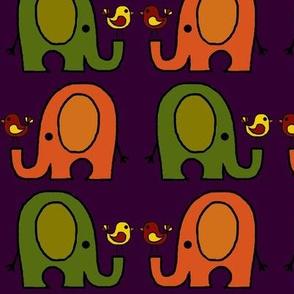 Elephants and birds purple
