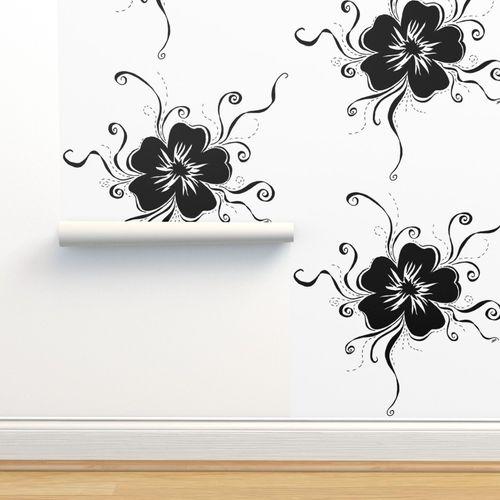 Papier Peint Petit Bouquet Blanc Art Noir Fleur Graphique Dessin Illustration