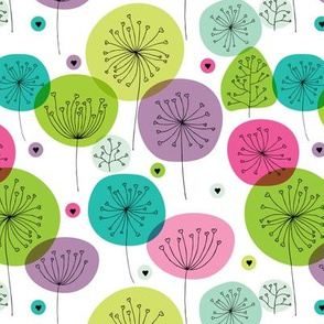 Cute colorful retro style poppy flowers cute floral illustration pastel wallpaper
