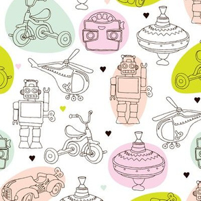 Cute vintage kids toys helicopter robot bike car and viewmaster wallpaper for bedroom