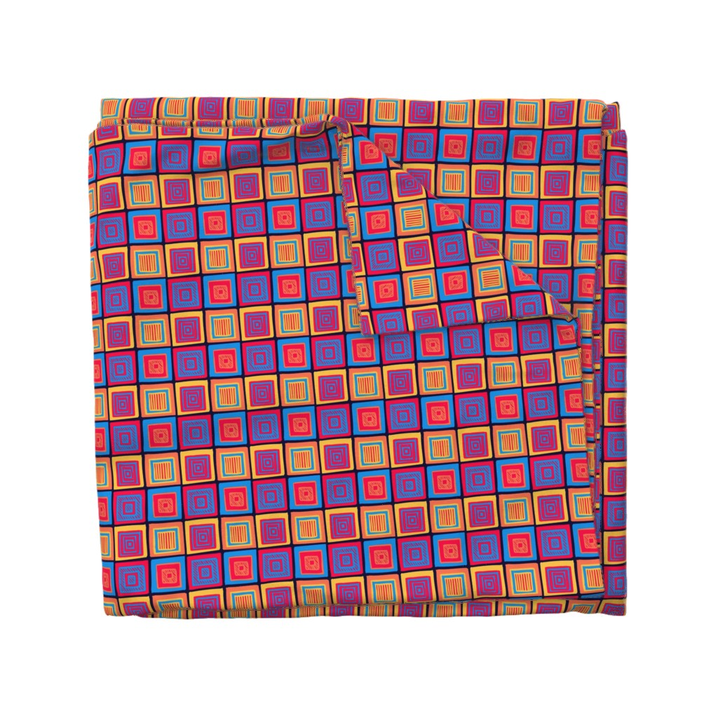 Wyandotte Duvet Cover featuring Summer Tribal Squares by Cheerful Madness!! by cheerfulmadness_cartoons