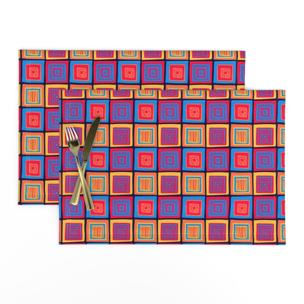 Lamona Cloth Placemats featuring Summer Tribal Squares by Cheerful Madness!! by cheerfulmadness_cartoons